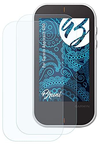 Bruni Película Protectora Compatible con Garmin Approach G80 Protector Película, Claro Lámina Protectora (2X)