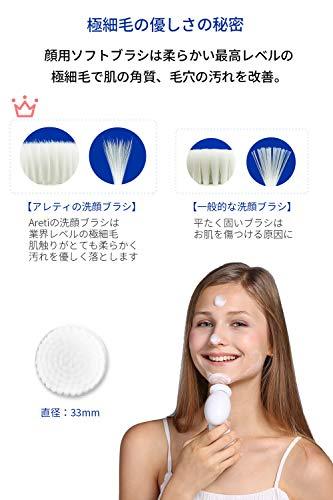 Areti(アレティ)洗顔用フェイスブラシ電動洗顔ブラシ東京発メーカー回転式防水電池式w04-SMP