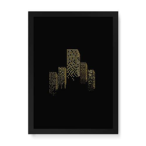 Arte Maníacos Quadro Decorativo Luzes da Cidade - 23x16,25cm (Moldura caixa em laca preta)