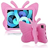 Simicoo iPad Air 4 10.9 case iPad Pro 11 2020 2018 case for Kids 3D Cute Butterfly Case with Stand Light EVA Shockproof Rugged Drop Protection Full Cover Kids case for iPad Air 4th Generation (Pink)