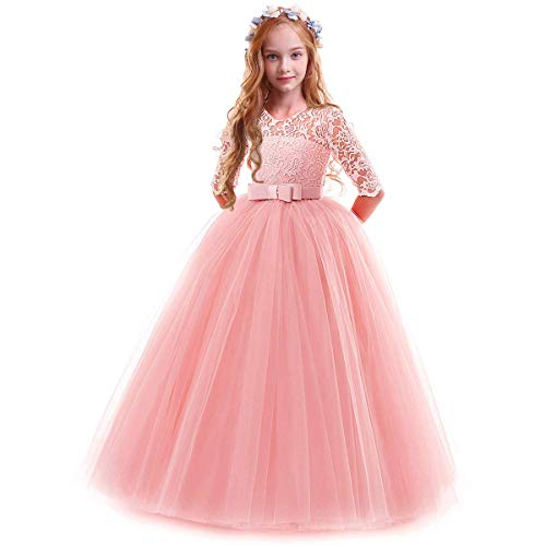 Flower Girls Lace Half Sleeve Tulle Dress Wedding Bridesmaid Communion Evening Party Bowknot Puffy Pink Dress 7-8 Years