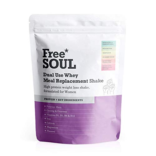 Free Soul Dual Use High Protein Whey Meal Replacement Powder for Weight Loss Control for Women with 25 Added Vitamins and Minerals | 15 Servings | 510g (Vanilla)