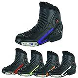 RXL Botas de motocicleta impermeables para hombre, de piel antideslizante, protección máxima (negro/azul, número 6)