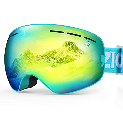 ZIONOR XMINI Kids Ski Snowboard Snow Goggles UV Protection Anti-Fog with Spherical Lens for Kids Boys Girls Youth (VLT 6% Blue Frame Grey Revo Gold Lens)
