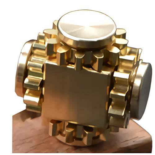 Pure Brass Fidget Cube Gears Linkage Fidget Toy Metal DIY EDC Focus Meditation Break Bad Habits ADHD (Brass)