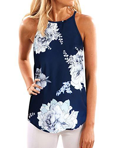 YOINS Camiseta sin Mangas para Mujer Verano Top Elegante Blusas Florales