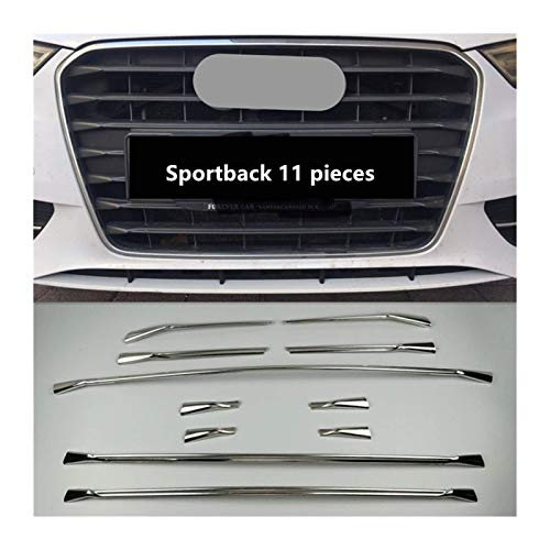 ZNBH Rejilla delantera para rejilla central de coche, de acero inoxidable, para A3, 8 V, 2013 – 2016, accesorios interiores exteriores de coche (tamaño: 12 piezas sedán)