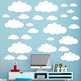 31 pegatinas de pared con nubes blancas para niños, tamaño de mezcla para decoración de dormitorio de niños, bricolaje, hogar, vinilo, nubes, pegatinas murales para habitación de bebé, papel pintado