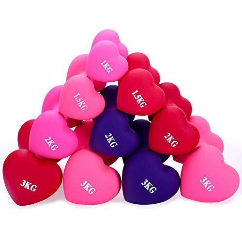 Gskanc Umweltfreundliche Neoprenhantel,HerzföRmige Matte Hantel Yoga rutschfest Hantel FitnessgeräTe Zum Trainieren Von Brustmuskeln Und Armen(1Kg,1.5Kg,3Kg,3Kg),3kg