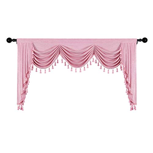 Thick Chenille Window Curtains Valance for Living Room Waterfall Valance for Bedroom (Valance,Pink, W98)
