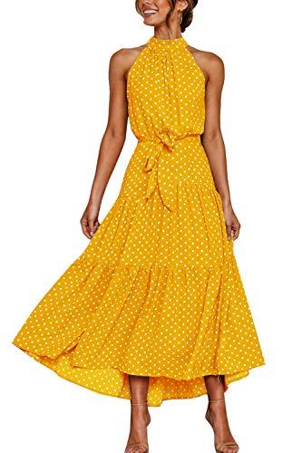Zilcremo Sommerkleider Damen Böhmisch Lange Kleid Strandkleid Halfter Blumenkleid Polka Punkt Maxikleider mit Gürtel Gelbpunkt S