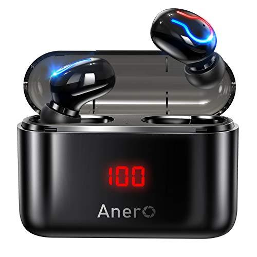 Anero ワイヤレスイヤホン 【モバイルバッテリー機能 LEDディスプレイ残量表示】 Bluetooth イヤホン Hi-Fiステレオ 120時間連続再生 IPX6防水 ブルートゥース イヤホン ハンズフリー通話 ノイズキャンセリング 自動ペアリング PSE&技適認証済 (ブラック)