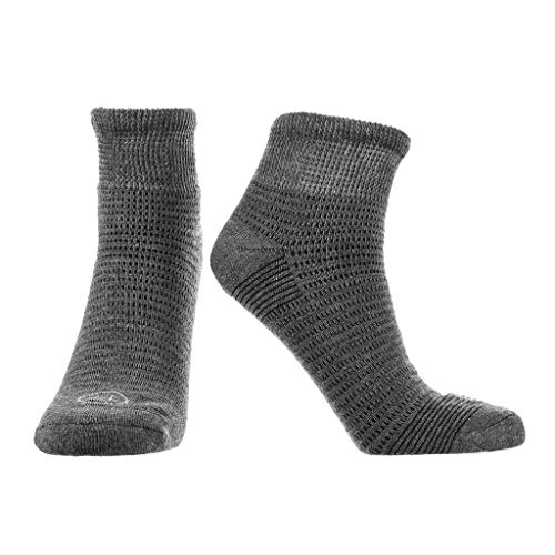Doctor's Choice Men's Diabetic & Neuropathy Socks, Quarter Length, Non-Binding with Aloe, Antimicrobial, Ventilation, and Seamless Toe, Single Pair, Charcoal, Mens Large: Shoe Size 8-12