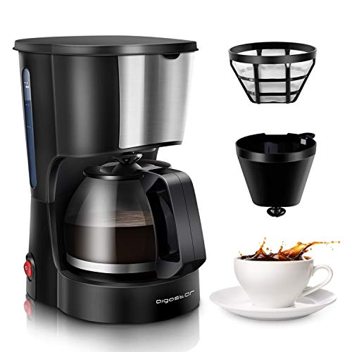 Aigostar 4 Cup Drip Coffee Maker, Coffee Pot Machine with Reusable Filter and Glass Carafe Compact Cofeemakers for Home, Travel & Office, Stainless Steel Decoration, Black