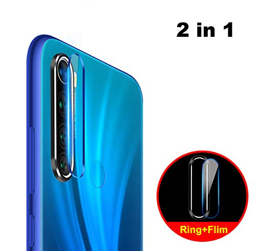 NOKOER Protector de Lente de Cámara para Xiaomi Redmi Note 8, [2 en 1] Anillo Protector Metálico para la Cámara + Película Protectora para la Cámara, Lente de la Cámara de Protección - Negro