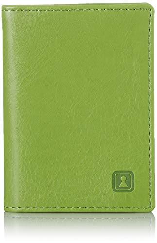 OPTEXX® RFID Karten-etui Herren l Damen Personal-ausweis l Kredit-Karten l Bankkarten Charly Grün aus Vegi Leder TÜV geprüft und Zertifiziert