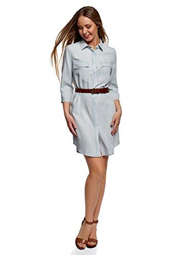 oodji Ultra Donna Abito Camicia in Jeans con Taschini, Blu, IT 38 / EU 34 / XXS