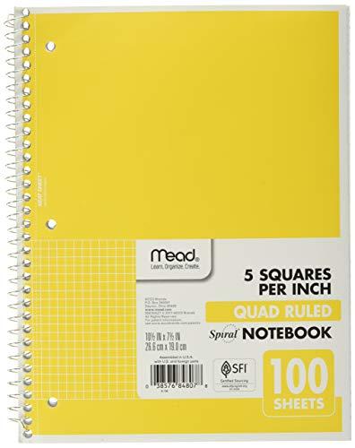 Mead Caderno espiral, 1 assunto, pauta quádrupla, 100 folhas, 26 x 20 cm, amarelo (05676AZ7)