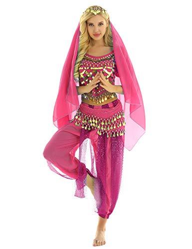 MSemis Damen Bauchtanz Kostüm Set Pailletten Tanzkleidung Indische Tanz Performance-Kleidung 4tlg. Sets Oberteil + Haremshose + Hüfttuch + Kopftuch Rose Einheitsgröße