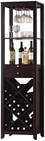 BOWERY HILL Contemporary Wine Bar Cabinet with Standing Bottles Display Storage Shelf and 1 product image