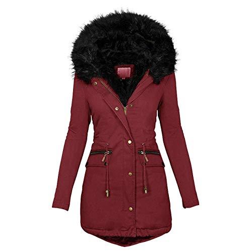 OutTop Damen Steppmantel Winter Warm Fleece Gefüttert Kunstfell Kapuze Reißverschluss Up Down Jacken Parka Outwear mit Tasche - Rot - Medium