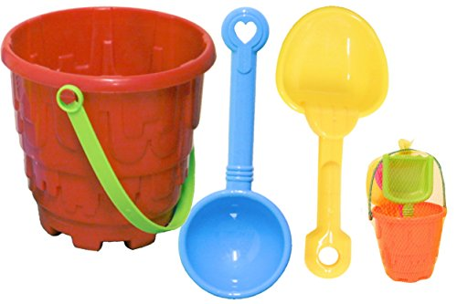 Guilty Gadgets Beach Sand Bucket Castle Set Tools With Rake and Spade Tools Children Outdoor Toy For your Spring/Summer Holiday