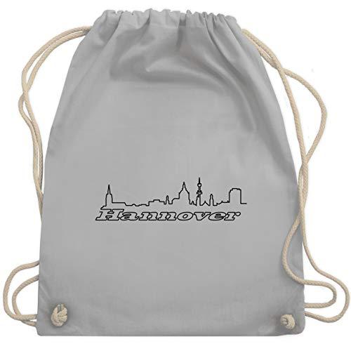 Shirtracer Skyline - Hannover Skyline - Unisize - Hellgrau - tasche hannover - WM110 - Turnbeutel und Stoffbeutel aus Baumwolle