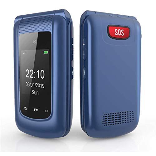 WEUN Entsperrtes 3G Senioren Flip-Handy, Dual-SIM-Karte, großer Knopf, benutzerfre&lich, Handy, blau, für ältere Menschen