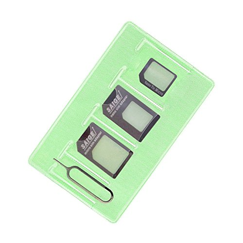 Nano Micro Sim Card Adapter 4 in 1 (Green-Black)