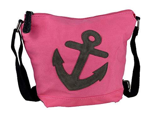 yourlifeyourstyle Anker Damen Teenager Umhängetasche Canvas - Patches aufgenäht - Maße 26 x 22 x 8 cm - viele Farben (A-pink)