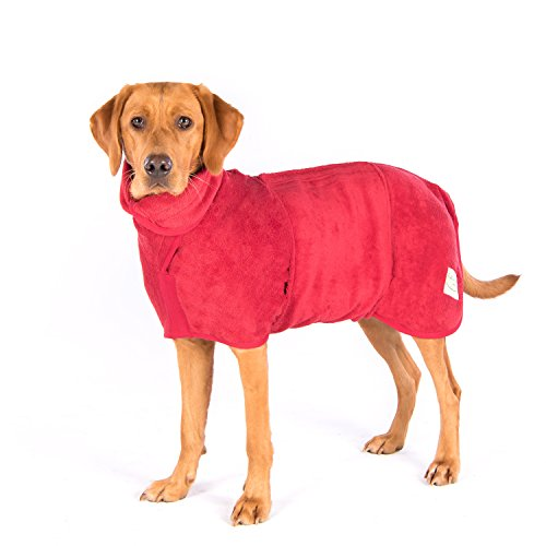 Ruff and Tumble Dog Drying Coat - Classic Collection (M/L, Brick Red)