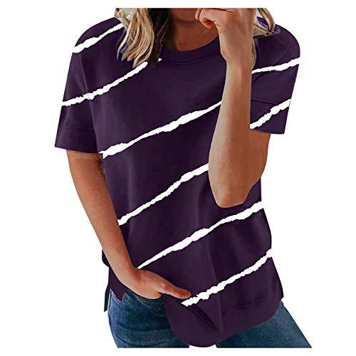 Damen Kurzarm T-Shirt Casual Streifen Sommer Lose Tunika Shirt Oversize Oberteile Baumwolle Bluse Tshirt Tops