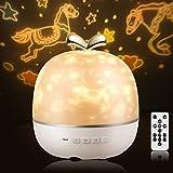 Sternenhimmel Projektor LED Lampe,GVOO Musik Nachtlicht Lampe mit Bluetooth Timer mit 6 Projektionsfilmen 360° Rotation für Geschenke/Dekoration/Kinder/Erwachsene