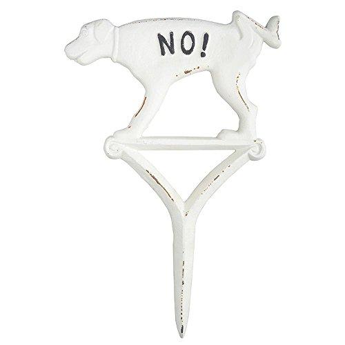 Esschert Design Hundeschild pinkeln No! weiß aus Gusseisen, 20,5 x 1,2 x 31,5 cm
