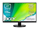 Acer KB272HLHbi Monitor FreeSync da 27', Display VA FHD, 75 Hz, 1 ms, 16:9, VGA, HDMI, Schermo PC con Contrasto 100M:1, Lum 250 cd/m2, Zero Frame, Cavo VGA Incluso