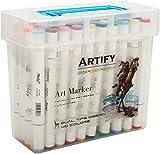 Artify Artístico Juego de Marcadores de Arte a Base de Alcohol, 40 Colores, Rotuladores de Doble Aplicador con Estuche Portátil de Plástico