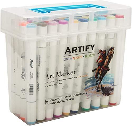 Artify 40 Farben Markerstifte Twinmarker Set mit Tragetasche, 40er Set Graffiti Stifte, Japanische Tinte auf Alcoholbasis, für Studenten, Künstler, Graffiti-Malern, Illustratoren und Zeichen-Fans