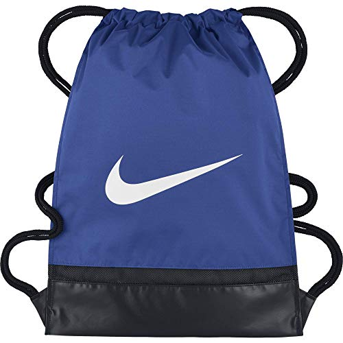 Nike Brasilia Training Gymsack, Drawstring Backpack with Zippered Sides, Water-Resistant Bag, Game Royal/Black/White