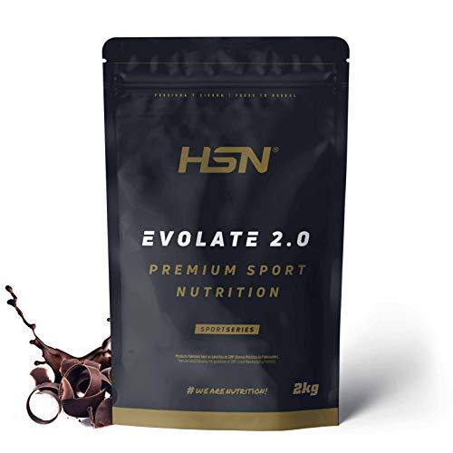 Aislado de Proteína de Suero de HSN Evolate 2.0   Whey Protein Isolate   Proteína CFM + Enzimas Digestivas (Digezyme) + Ganar Masa Muscular   Vegetariana, Sin Gluten, Sin Soja, Chocolate, 2Kg