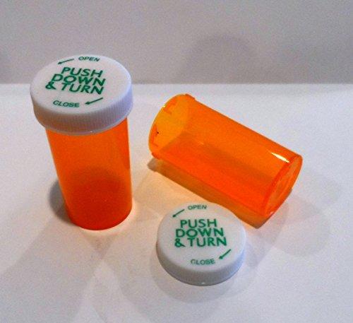 Plastic Prescription Vials/Bottles 25 Pack w/Caps Larger 13 Dram Size-New