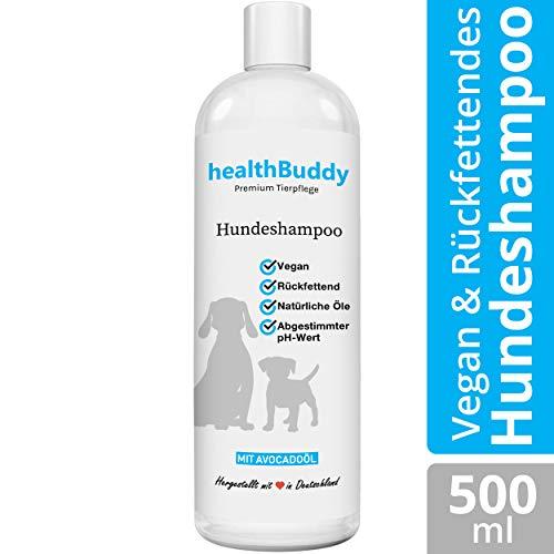 healthBuddy Premium Hundeshampoo mit natürlichem Avocadoöl – Made in Germany – Entfernt unangenehme Gerüche, Für empfindliche Haut und Fell, Wirkt Rückfettend, Hilft gegen Juckreiz und Flöhe