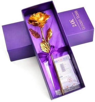 G&G Gold Rose Artificial Flower, Valentine's Day Gift Gift Valentine Gift Golden Rose 25 cm with Beautiful Gift Box