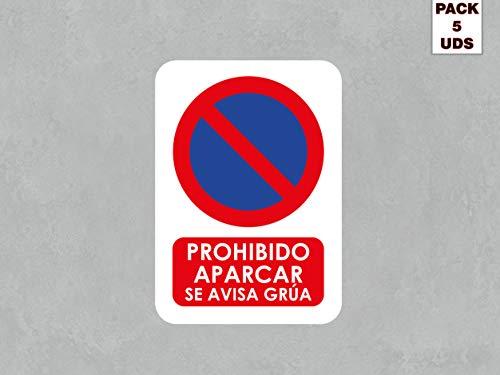 Pack 5 Señales de Prohibido Aparcar Se Avisa Grúa   Medida 14,85x21cm   Señaletica en Material Aluminio Blanco Resistente de 3mm   Duradera y Económica