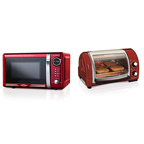 Nostalgia RMO7RR Retro 0.7 cu ft 700-Watt Countertop Microwave Oven & Hamilton Beach Easy Reach Countertop Toaster Oven, 4-Slices, Red (31337D)