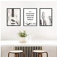 Muzimuzili北欧のキャンバス絵画家の装飾壁アートプリントリビングルーム寝室ポスター手紙引用ギタミニマリストポスターシンプルな絵画-50X70Cmx3Pcs非フレーム