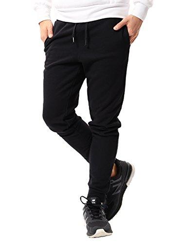 JIGGYS SHOP スウェットパンツ メンズ ジョガーパンツ ジャージ スリム 細身 無地 サイドライン 迷彩 S Bブラック