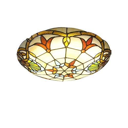 Tiffany-Stil Deckenlampe, Barock Runde LED Deckenleuchte, Buntglas-Deckenleuchten für Flur Wohnzimmer Schlafzimmer Küche Badezimmer,6000k,40CM
