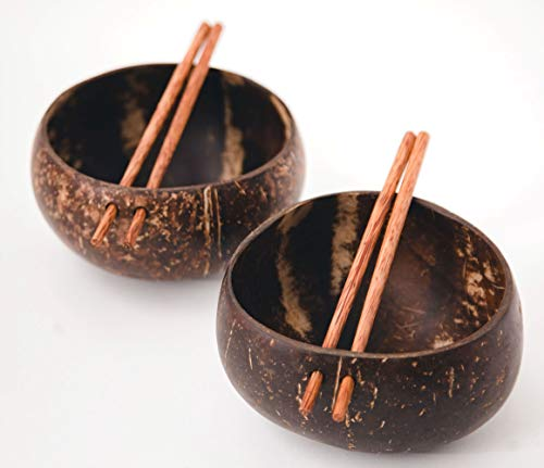 100% Natural Jumbo Coconut Bowl Unique Gift Set. Eco-Friendly Vegan Organic Non-Toxic Reusable Sustainable Smoothie Açai Buddha Kitchen Bowl (Set of 2 Polished Hand-Crafted Handmade Bowls/2 Chopstick)