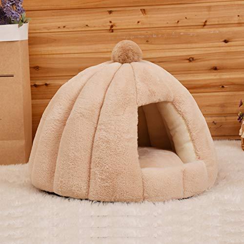 Pet Slaapbank Cats & Dogs Bed Cave, Warm Non-Slip-Half Gesloten Pet Nest, Zachte Herfst En Winter Warm Bed Huis Voor Kleine Kennel Rabbit,Beige
