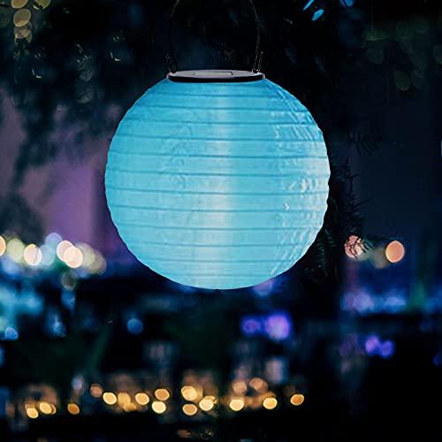 Surfiiiy solarlampen für außen deko garten hängend,gartenlampen solar laterne wetterfest,solar Garten Deko Papierlampen für Hochtzeit Kirche Garten Party Weihnachten Lampion (Blau B, 20cm,2pcs)